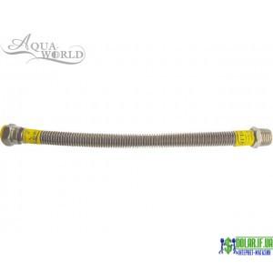 Шланг для газу нержавіючий Aqua-world рВ-рЗ 80см 1/2 (15)